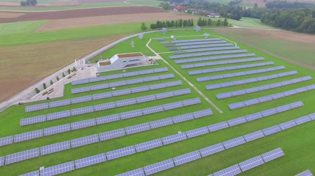 fotovoltaica : Aerial view Industrial Solar Panels Producing energy from sun in farm production for renewable energy,
