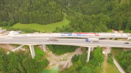 Клаус : Aerial view of the highway, A9, tunnel in Austria. Стоковые видеозаписи