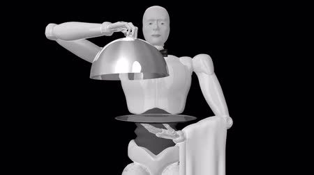 Animated video images of three-dimensional robot waiter (full hd 1080p video   alpha channel).