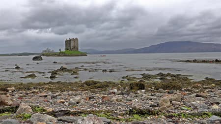 argyll : Castle Stalker in Scotland on a stormy day. Stock Footage