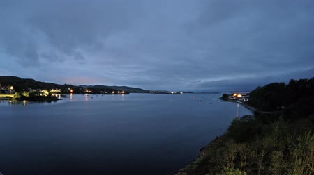 argyll : 8 hours time lapse of Connel and the Falls of Lora seen from the Connel bridge - from day to night Stock Footage