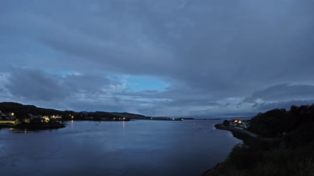 argyll : 8 hours time lapse of Connel and the Falls of Lora seen from the Connel bridge - from night to day