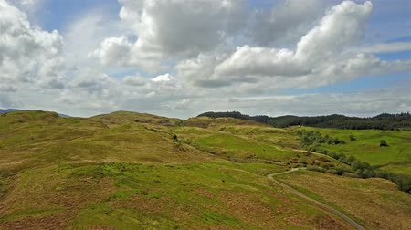 argyll : Aerial view of the scottish highlands with single track road and sheep