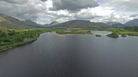 argyll : Aerial view of the ruins of historic Kilchurn Castle and Loch Awe