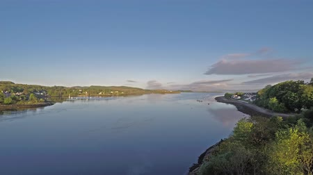 argyll : Time lapse of the Lora Falls seen from Connel Bridge from 6am to 10am, Argyll Stock Footage