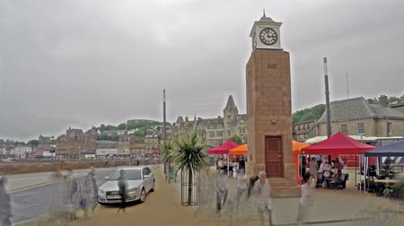 argyll : Time lapse of people moving around the Oban clock