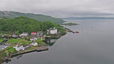 argyll : Aerial view of the beautiful historic harbour village of Crinan