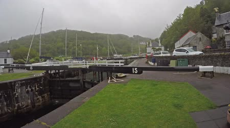 argyll : Crinan  Scotland - May 24 2017 : The locks are opening - time lapse Stock Footage