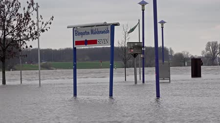vodoznak : Duisburg  Germany - January 08 2017 : The Muehlenweide is flooded by the river Rhine