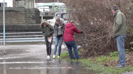vízjel : Duisburg  Germany - January 08 2017 : Tourists surprised by the river Rhine flooding the promenade