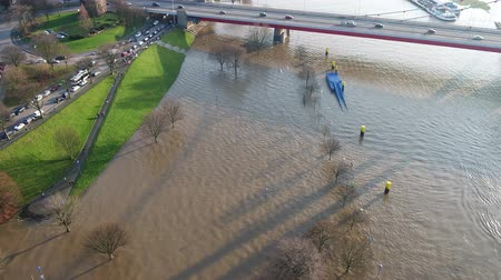 filigran : Duisburg  Germany - January 08 2017 : The Muehlenweide is flooded by the river Rhine - aerial view