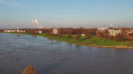 handrails : Duisburg  Germany - January 08 2017 : The Muehlenweide is flooded by the river Rhine - aerial view