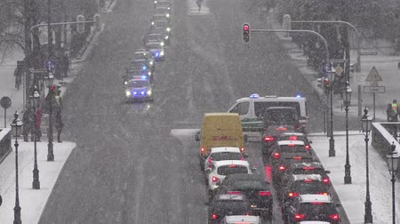 siren : Munich  Germany - February 16 2018 : Convoy of politicians passing on their way to the Munich Security Conference