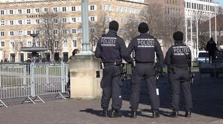 bomber : Stuttgart  Germany - February 11 2018 : German Federal police officer protecting the city
