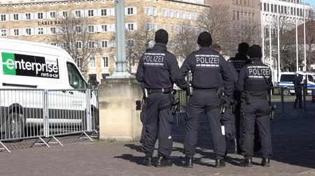 isis : Stuttgart  Germany - February 11 2018 : German Federal police officer protecting the city