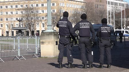areszt : Stuttgart  Germany - February 11 2018 : German Federal police officer protecting the city