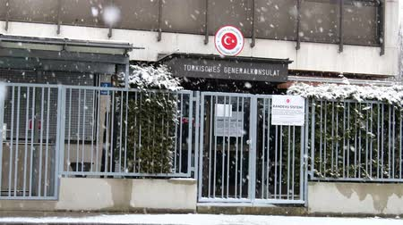 consulate : Munich  Germany - February 17 2018 : The consulate general of Turkey in the snow storm Stock Footage