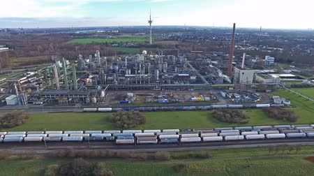 distillation : MOERS  GERMANY - JANUARY 03 2016 : Aerial of the industrial area Eurotec Stock Footage