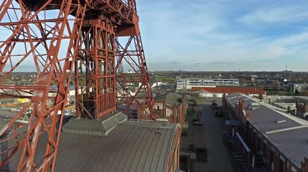 eixo : MOERS  GERMANY - JANUARY 03 2016 : Aerial of the historical coal mine buildings Rheinpreussen Stock Footage