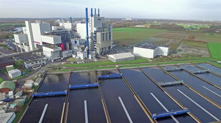 bird ecology : KREFELD  GERMANY - DECEMBER 19 2015 : Garbage incineration plant working together with the purification plant