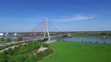 süspansiyon : WESEL  GERMANY - MAY 06 2016 : The Netherrhine bridge in the sun, aerial