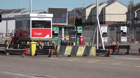 ferry terminal : Holyhead  Wales - April 30 2018 : The border control is ready for passengers