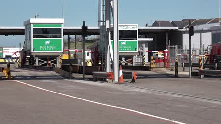 Holyhead  Wales - April 30 2018 : The border control is ready for passengers
