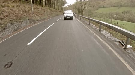 Corris  Wales - May 01 2018 : Driving from Corris to Machynlleth in north wales in the rain