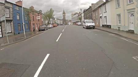 Machynlleth  Wales - May 01 2018 : Driving through Machynlleth in north wales in the rain Stock Footage