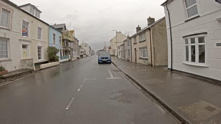 Aberytswyth  Wales - May 01 2018 : Driving from Ynyslas to Aberytswyth in north wales in the rain
