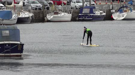 gát : Caernarfon  Wales - May 01 2018 : Man stand up paddling in the harbour