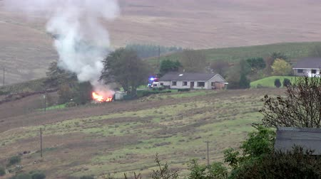 Isle of Skye  Scotland - October 10 2018: Fire is burning next to the distillery
