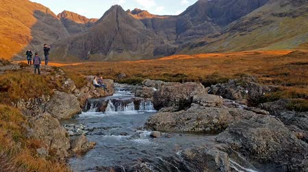 quebradiço : Isle of SKye  Scotland - October 11 2018 : Tourists enjoying the fairy pools