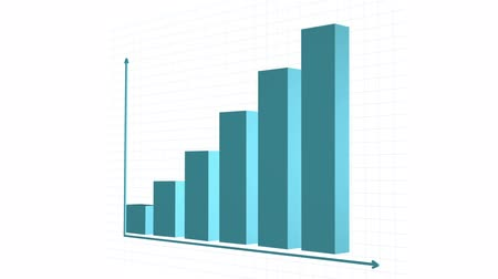 graph : 3D Rising Graphs, Charts. Alpha Included Stock Footage