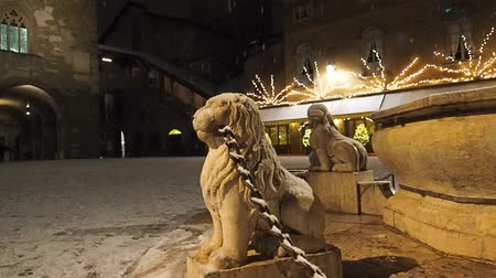 Historic fountain with snow. Dostupné videozáznamy