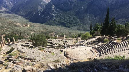 řek : The view on amphitheater, in the archaeological site of Delphi, Greece. 4k video Dostupné videozáznamy