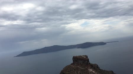 УВР : the view of Nea Kameni from Oia near Santorini, cyclades, Greece