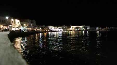 řek : the night scene of Mykonos town, Greece