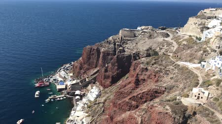 4k video. The panoramic view of port of Ammoudi in Oia Santorini, Greece