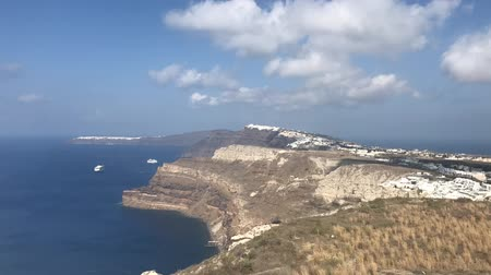 Delayed photography of panoramic view of Oia and Fira