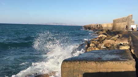 Heraklion. Breakwater in the seaport