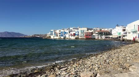 Little Venice popular tourist area at village on Mykonos island, Greece, Europe Stock mozgókép