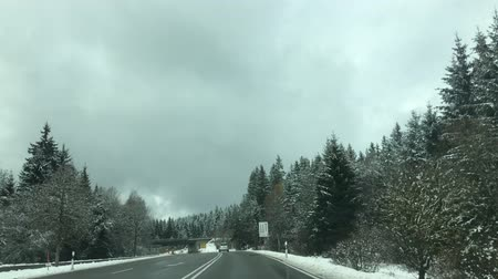 driving in the highway of black forest in Germany in Winter Stock mozgókép