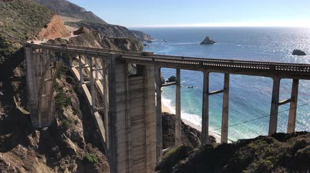 Locked down view of Bixby Creek Bridge in the Big Sur area of Central California Stock mozgókép