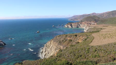 приморский : 4K Aerial of Californias Big Sur Coastline Стоковые видеозаписи