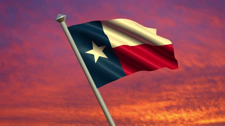 teksas : Looping Texas Flag animation with sky background.