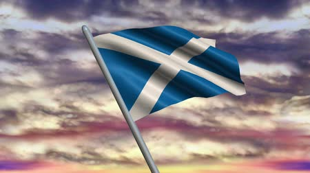 Пейсли : Looping Scottish flag animation with sky background. Стоковые видеозаписи
