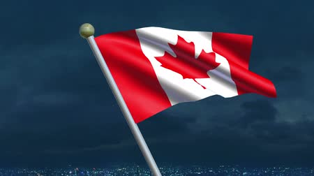 red maple : Looping Canadian Flag animation with sky background.