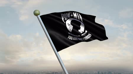 veteran's day : Looping POWMIA Flag animation with sky background.