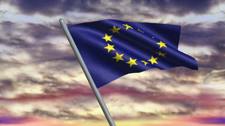 avrupa birliği : Looping European Union Flag animation with sky background. Stok Video